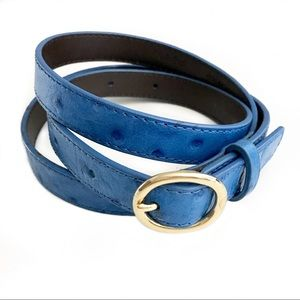 J. Crew Factory Skinny Embossed Ostrich Belt Blue
